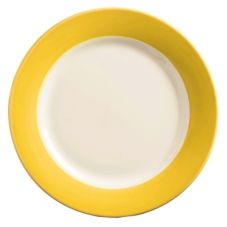World Tableware BB-37-Y Montego Bay Yellow Brush Band Plate - 12 / CS