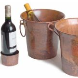 "Orion Trading C15-R 9"" Rustic Copper Wine Bucket w/ Ring Handles"