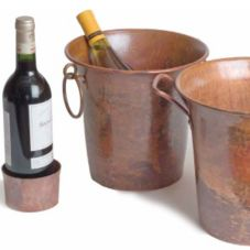 "Orion C15-R 9"" Rustic Copper Wine Bucket with Ring Handles"