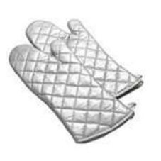 "Intedge 338S-17 Silver Silicone Coated 17"" Oven Mitt"