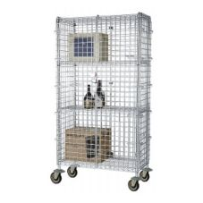 "Focus Foodservice Chromate 18 x 48 x 63"" Mobile Security Cage Kit"