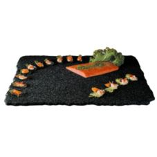 "Gourmet Display SS2039-1 Black 20"" x 16"" Quarry Stone Tray"