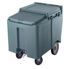 Cambro ICS125L191 Granite Gray Mobile SlidingLid 125 Lbs Ice Caddy