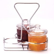 Traex® WR-1010 Chrome Plated Wire 3 Jar Condiment Rack