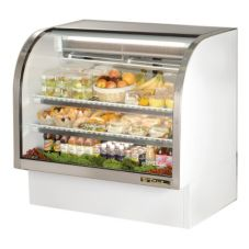 True® White Curved Glass Refrigerated Deli Case, 23.5 Cubic Ft