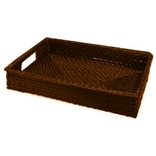 "Front Of The House BPT019ESW22 19"" Chocolate Rattan Tray - 6 / CS"