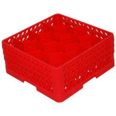 Traex® TR18JJJ-02 Red 12 Compartment Glass Rack with 3 Extenders