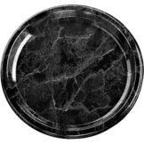 "Sabert 818 Flat Black Marble 18"" Tray"
