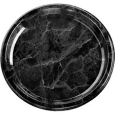 "Sabert® 818 Black Marble Collection Flat 18"" Tray"