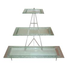 Isinglass Clear Glass 3-Tiered Platters with Stand
