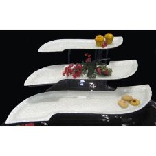 Isinglass 3-Tier Metal Stand with 3 Clear Glass S-Shaped Platters