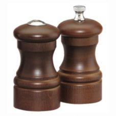 "Chef Specialties 4100 Walnut 4"" Capstan Pepper Mill / Salt Shaker Set"