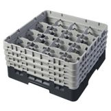 "Cambro 16S800110 Black 16 Comp 8-1/2"" Glass Rack, 4 Extender - 2 / CS"
