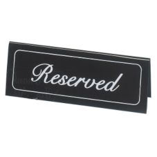 "Cal-Mil® 5.75"" x 2"" Black Vinyl Reserved Message Tent"