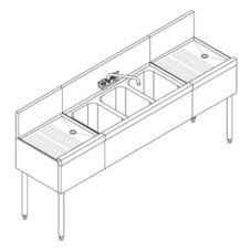 "Perlick® TSD43R 3-Compartment 48"" TSD Underbar Sink Unit"