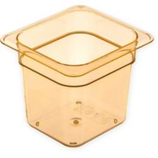 "Carlisle® Top Notch® Amber 1/6 Size 6"" Deep Food Pan"