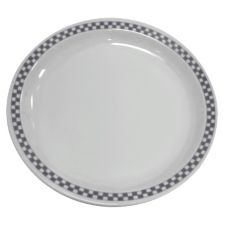 "Homer Laughlin China 2191636 Checkers Black NR 11-7/8"" Plate - 12 / CS"
