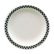 "Homer Laughlin China 2051636 Checkers Black RE 9"" Plate - 24 / CS"