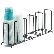 "Cal-Mil® 1233"" Black Wire Frame 5 Slot Cup / Lid Organizer"