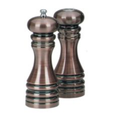"Chef Specialties 7"" Burnished Pepper Mill / Salt Shaker Set"