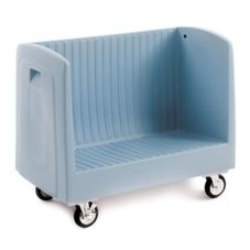 Metro® Gray Polymer Single Side-Loading Dish Cart w/ Dividers