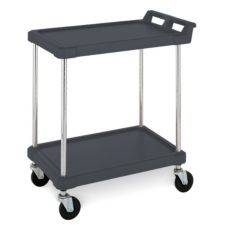 Metro® BC Series Black 18 x 28 In. Open Utility Cart w/ 2-Shelves