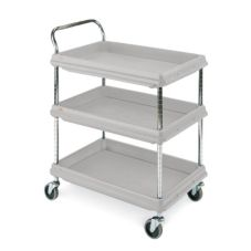 "Metro® BC2030-3DG Gray Deep Ledge 21 x 33"" 3-Shelf Utility Cart"