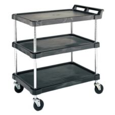 "Metro® BC Series Black 21 x 33"" Utility Cart w/ 3-Shelves"