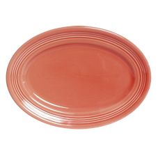 """Tuxton CNH-116 11.5"""" x 8.38"""" Cinnebar Oval Platter - 12 / CS"""