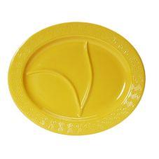 """Tuxton BUZ-1444 14.5"""" x 12.13"""" Mustard Oval Divided Platter - 6 / CS"""