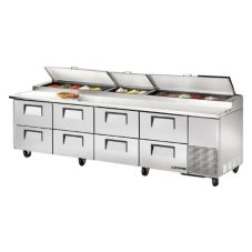 True® 8-Drawer S/S Pizza Prep Table w/ White Alum. Interior