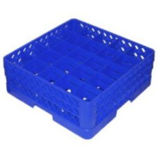 Traex® TR6BB-44 Blue 25 Compartment Glass Rack with 2 Extenders
