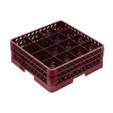 Vollrath TR8DD-21 Traex Burgundy 16 Comp. Glass Rack w/ 2 Extenders