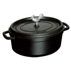 Staub USA 1123123 Black Cast Iron 5.7 Qt Coq Au Vin Cocotte