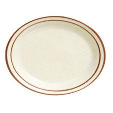 """Tuxton® TBS-014 13-1/4"""" x 10-1/2"""" Eggshell Oval Platter - 12 / CS"""