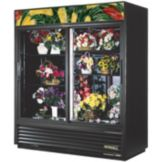 True® Black Glass Swing Door Floral Case Refrigerator, 61 Cubic Ft