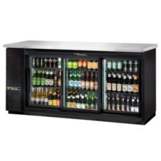True® Black 2-Sliding Glass Door Back Bar Cooler for 130 6-Packs