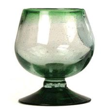 Aztecas Design 38M 10 Oz. Green Rim Cognac Glass - 30 / CS