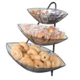 Gourmet Display BK112-B Black 3 Piece Wire Basket Stand with 3 Baskets
