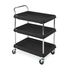 "Metro® BC2636-3DBL Black Deep Ledge 27 x 38"" 3-Shelf Utility Cart"