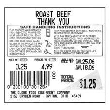 Globe Food Equipment E12 Safe Handling Labels for GSP30A - 12 / CS