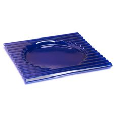 "Steelite 6527B552 Blue Glass 12"" Square  Zig Zag Plate - 12 / CS"