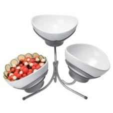 Gourmet Display® SR701-P Platinum 3-Tier Stand w/ 3 Melamine Bowls