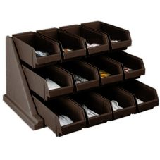 Cambro® 12RS12131 Versa Dark Brown 12-Bin Organizer Rack