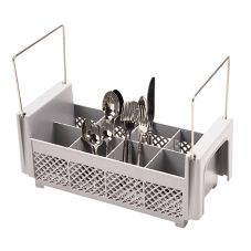 Camrack 8FB434151 Soft Gray 8-Compartment Flatware Basket with Handles