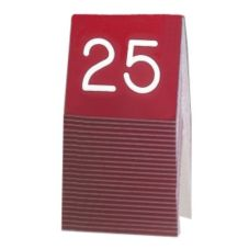 Cal-Mil® Red and White Engraved Table Tent (Numbers 26-50)