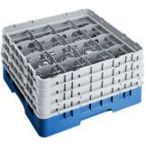 "Cambro 16S900168 Blue 16 Compartment 9-3/8"" Full Size Glass Rack"