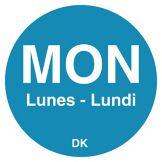 "DayMark DuraMark™ Trilingual ¾"" Monday Day Circle"