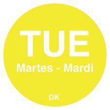 "DayMark 1100592 Trilingual 3/4"" Tuesday Day Circle - 2000 / RL"
