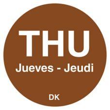"DayMark 1100594 Trilingual 3/4"" Thursday Day Circle - 2000 / RL"